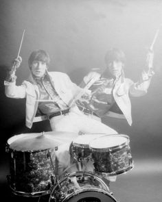 Keith Moon posing for a series of personal publicity shots, just after joining The Who. Wembley Studios, 1964.