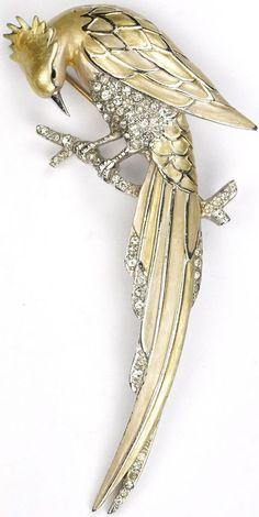 MB Boucher Pastel Metallic Enamel Perching Bird Pin