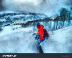 Man rides on a snowboard, among the trees. Take a selfie. Winter resort, snow forest.