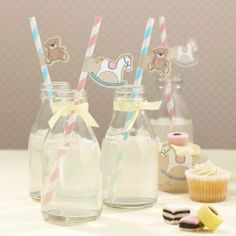 Rock A Bye Baby Straws with Flags. Milk bottle cocktails and pink lemonades