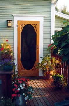 Add beauty and value to your home with our custom wood screen doors. Visit YesterYear's Vintage Doors and select the ideal wooden screen door from our large collection of traditional screen & storm doors. Porch Doors, Wood Front Doors, Old Doors, Entrance Doors, Windows And Doors, Front Door With Screen, Wooden Screen Door, Diy Screen Door, Vintage Screen Doors