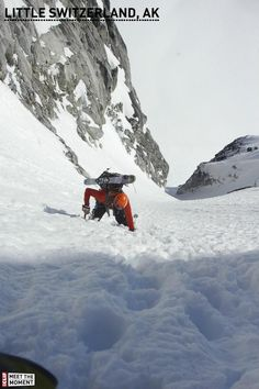 Booting up the Throne Couloir, chute skiing in Little Switzerland, Alaska.