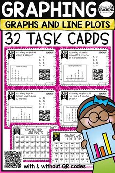 32 Graphs & Line Plots Task Cards to help your students review graphing. These are perfect for review, Scoot game, math center, assessment tool, or test prep! Graphing Skills Included in Product:  •Bar Graphs •Pictographs •Line Plots •Circle Graph •Tally Chart  •Table •Data Chart   This product is aligned to 3.MD.3 & 4.MD.4