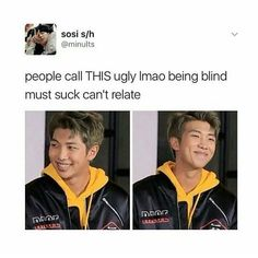 "1,020 Likes, 25 Comments - BTS Memes (@btsyouslay) on Instagram: ""My friend says rap mon is ugly lol I wanna choke and slap her hard but she looks pity so I'm going…"""