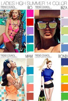 Pantone women's fashion palette summer 2014 | ... TREND COUNCIL . SS 2014 HIGH SUMMER . WOMEN'S/JUNIOR'S COLOR PALETTES