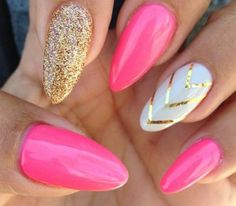 Pink gold and white stiletto gel nails £5.99