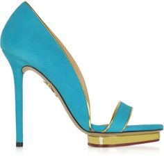 Charlotte Olympia Designer Shoes Christine 125 Swimming Pool Blue... ($317) ❤ liked on Polyvore featuring shoes, sandals, blue sandals, open toe sandals, platform shoes, high heel sandals and blue high heel sandals