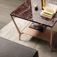 tavolino quadrato struttura alluminio laccato rame, top in marmo rosso lepanto, sottopiano vetro laccato lucido rame