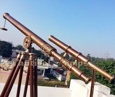Antique Brass Nautical Telescope with Tripod Large Marine Navy Island Telescope