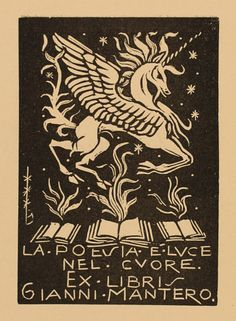 Ex Libris by Bruno da Osimo for Gianni Mantero, 1948
