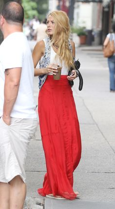 coral red high waisted maxi skirt styled with vest-Blake Lively