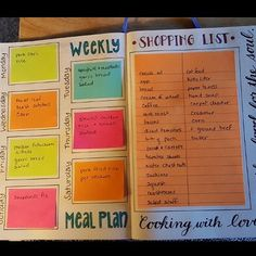 Weekly meal plan and shopping list that can be used over and over using post-it notes. Unknown source. #bulletjournalweightloss