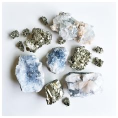 """""""If we're doing life right, we're always evolving into the next version of ourselves"""" - Cheryl Strayed  Recently discovered her """"Dear Sugar"""" podcasts, highly recommend them for some compassionate life wisdom 💙 (PS these beauties are Apophyllite, Golden Pyrite, and Celestite, their colors remind of these bright, hazy, golden days of late summer...)."""