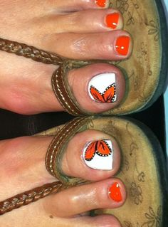 Sandal season or not, your toes should always look impeccable! These 55 cute toe nail designs will inspire you to reach for the closest nail polish bottles. Butterfly Nail Designs, Orange Nail Designs, Colorful Nail Designs, Toe Nail Designs, Nail Polish Designs, Gel Polish, Cute Toe Nails, Fancy Nails, Toe Nail Art