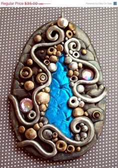 Still Water Pendant Polymer clay and Glass by MandarinMoon