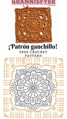 Crochet Square Blanket, Granny Square Crochet Pattern, Crochet Diagram, Crochet Squares, Crochet Granny, Granny Squares, Crochet Stitches Chart, Crochet Motifs, Crochet Flower Patterns
