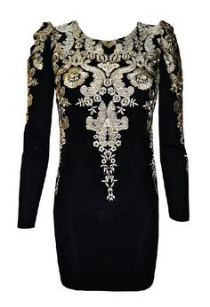 Heading to a festive, fancy soirée? The gold embellishments amp up this little black dress. Show a little skin – but not too much. This tight, short dress is balanced with the long sleeves and high neckline, which creates a sophisticated style.  Gold thread embroidery mini dress which is a flatteri
