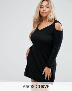 ASOS CURVE Knitted Dress with Cold Shoulder in Cashmere Mix