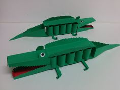 Kids Art and Craft: How to make 3D paper crocodile