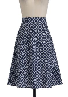 Put a Ring On It Skirt - Long, Blue, White, Casual, A-line, Print