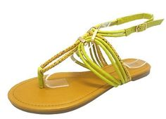 Wild Diva Bridie-06 Green Metallic Embellished Slingback Flat Sandal -- Check out this great product.