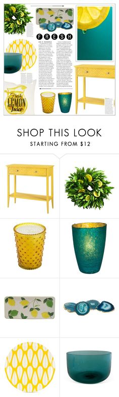 """""""Lemon & Teal"""" by leinapacheco on Polyvore featuring interior, interiors, interior design, home, home decor, interior decorating, Threshold, Simpatico, Cultural Intrigue and Sonoma life + style"""