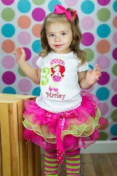 Strawberry Shortcake Birthday Flutter Tutu Outfit-baby birthday tutu sets, girls birthday tutu sets, babys first birthday tutu, birthday \