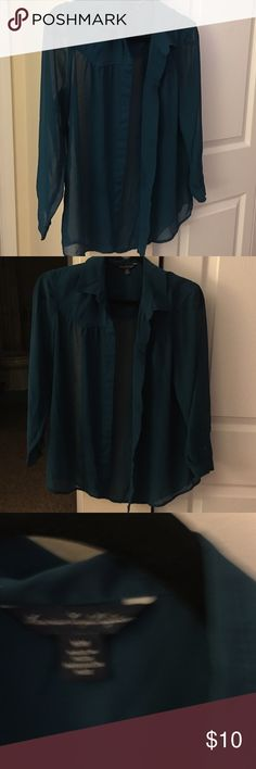 Women's sheer blouse Dark turquoise American eagle size M women's sheer blouse! American Apparel Tops Blouses