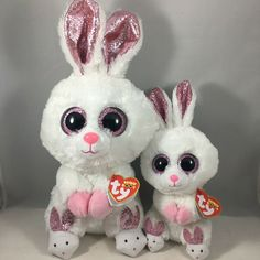 From the Ty Easter Beanie Boos collection. - SLIPPERS the White Bunny Regular Size). Ty Beanie Boos, Beanie Babies, Ty Toys, Bunny Rabbit, Easter, Christmas Ornaments, Holiday Decor, Books, Animals