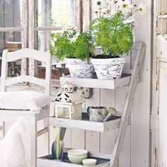 @gabrijolie #pots #flowers #white #whitehome #whitehomes #shabbychic #shabbyhomes #shabby #plants #chair #vitahem #vitt #lantligt #countrystyle #country
