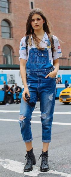 Distressed overalls + combat boots