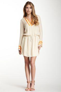 Madison Marcus Stripe Trim Silk Dress