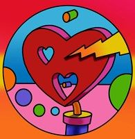 Framed Pop Art Lightning Heart Circle