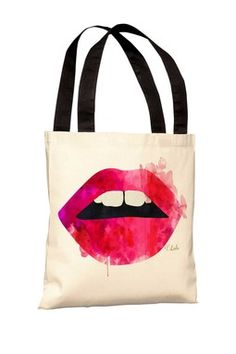 Oliver Gal by One Bella Casa Lola's Lips Polyester Tote Bag