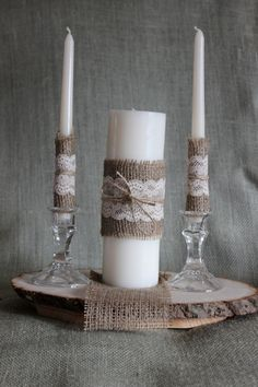 Items similar to Rustic Unity Candle, Burlap and Lace Unity Candle, Rustic Wedding Decor, Unity Candle Set, Jute wrapped Unity Candle on Etsy Wedding Unity Candles, Unity Ceremony, Unique Candles, Rustic Wedding Centerpieces, Wedding Reception Decorations, Candle Centerpieces, Rustic Weddings, Wedding Ideas, Table Decorations
