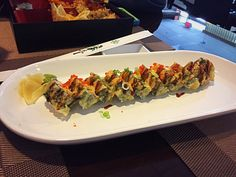 Sushi fire roll, at today's luncheon. Types Of Sushi, Sushi Love, Tacos, Rolls, Mexican, Passion, Fire, Ethnic Recipes, Sushi Types