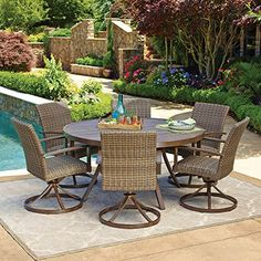 Outdoor Living  7pc All-Weather Wicker Outdoor Patio Dining Set w/ 60 Round Table * This is an Amazon Associate's Pin. Find the item on Amazon website by clicking the VISIT button.