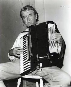 Jimmy Stewart playing the accordion.