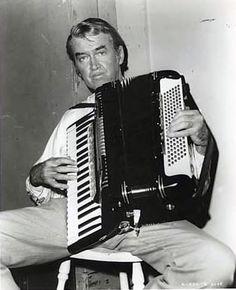 Jimmy Stewart playing the accordion.