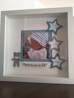 – Askartelu – … The flowers of Marica: novelty! Baby Presents, New Baby Gifts, Baby Crafts, Diy And Crafts, Diy Bebe, Baby Frame, Picture Boxes, Personalised Frames, Creation Deco