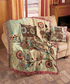 Add a fanciful touch to your living room or bedroom with the Milo Owl Throw or Pillow.  The multicolored tapestry artwork will brighten any space.