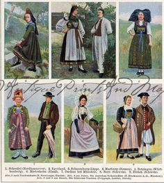 Colorful German Folk Dress Costumes Ethnic Clothing Color Offset Lithograph Print 1923