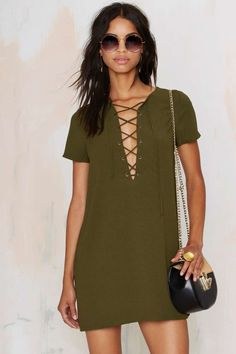 Runnin' with the Devil Lace Up Dress - Olive | Shop Clothes at Nasty Gal!