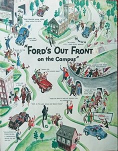 1947 Ford Cars  Print Ad  Full Page Color Illustration  Fords out front on campus  Magazine Art