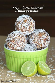 Key Lime Coconut Energy Bites 1/2 cup almonds  1/2 cup cashews  1 1/2 cups Medjool dates*, pitted  zest and juice from 3 key limes  1/2 cup unsweetened coconut