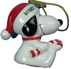 1977 Vintage Peanuts Snoopy Holding Candy Cane 225 Ceramic Christmas Ornament -- Continue to the product at the image link.