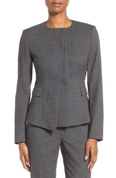 Free shipping and returns on BOSS Jadela Jacket (Regular & Petite) at Nordstrom.com. A box pleat detail at the concealed placket creates pleasing asymmetry in a tailored collarless jacket sewn from stretch-woven wool suiting.