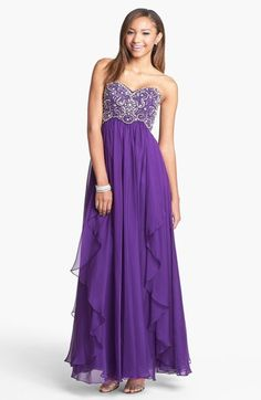 Sherri Hill Embellished Bodice Draped Chiffon Gown available at Purple Evening Gowns, Beaded Evening Gowns, Purple Gowns, Chiffon Evening Dresses, Beaded Gown, Chiffon Gown, Strapless Dress Formal, Beaded Dresses, Beaded Chiffon