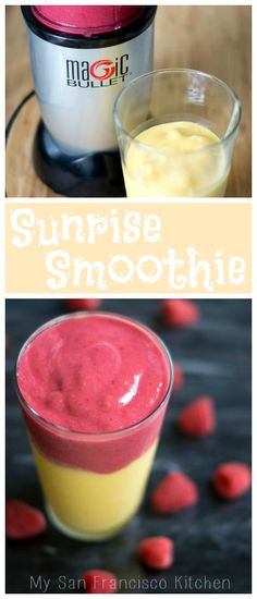 Sunrise Smoothie made with mango and raspberries