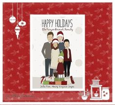 Custom Family Christmas Card, Personalized Christmas Card, Custom Happy Holidays Card, Family Portrait Illustration, Custom Couple Portrait